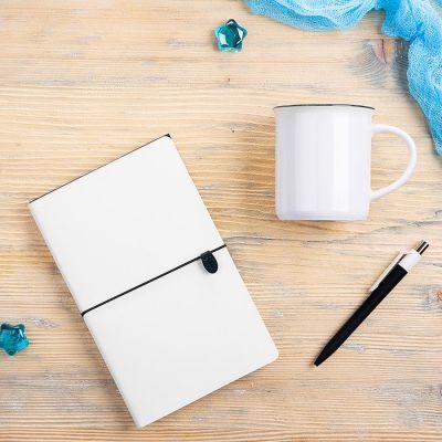 Набор подарочный FINELINE: кружка, блокнот, ручка, коробка, стружка, белый с черным, черный, белый