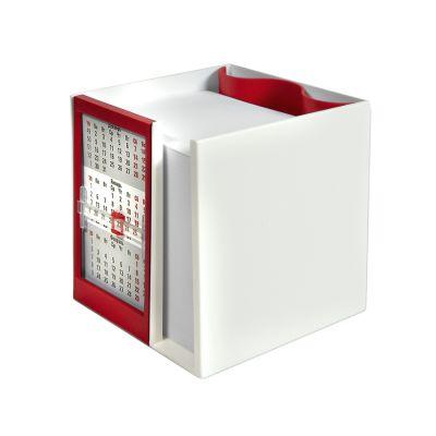 Календарь настольный  на 2 года с кубариком, красный, белый