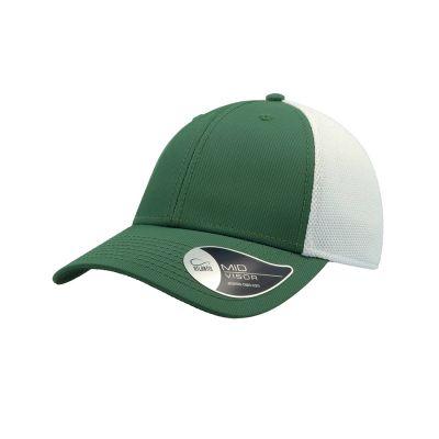Бейсболка СAMPUS, 6 клиньев, застежка на липучке, зеленый, белый