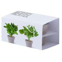 Набор NERTEL: два горшочка для выращивания петрушки и мяты с семенами, биоразлагаемый материал, грун, коричневый