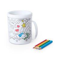 Кружка для раскрашивания с цветными карандашами (4шт) FESIENT, белый