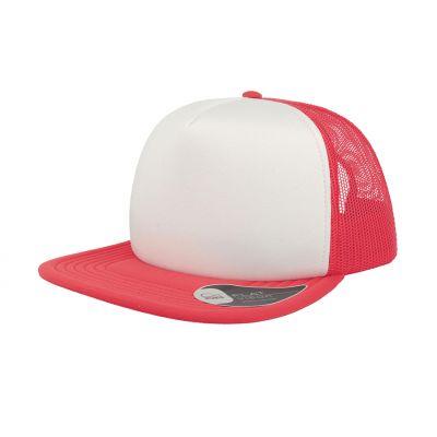 Бейсболка SNAP 90S, 5 клиньев, пластиковая застежка, белый, красный