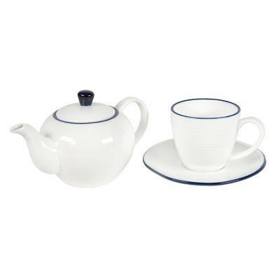 Набор SEAWAVE: чайная пара и чайник в подарочной упаковке, белый, синий