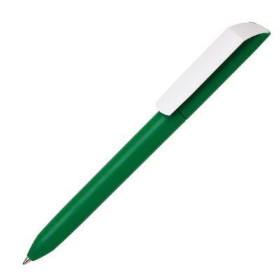 Ручка шариковая FLOW PURE с белым клипом, зеленый