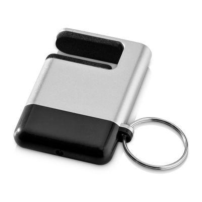 Подставка-брелок для мобильного телефона GoGo, серебристый/черный