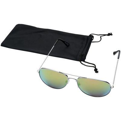 Солнечные очки Aviator с цветными зеркальными линзами, зеленый