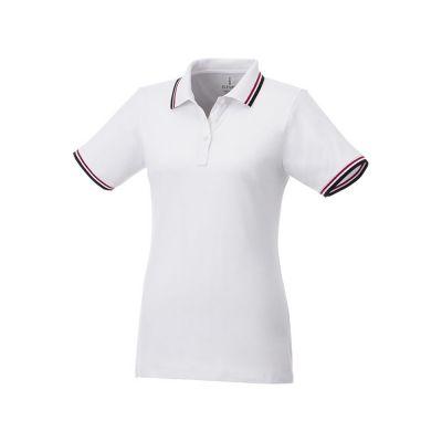 Женская футболка поло Fairfield с коротким рукавом с проклейкой, белый/темно-синий/красный
