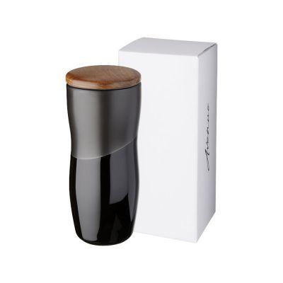 Двустенная керамическая термокружка Reno объемом 370мл, черный