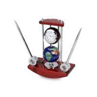 Настольный прибор Сенатор: часы с глобусом, две ручки на подставке