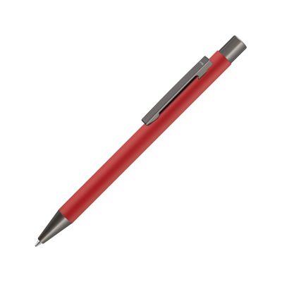 Ручка шариковая UMA STRAIGHT GUM soft-touch, с зеркальной гравировкой, красный