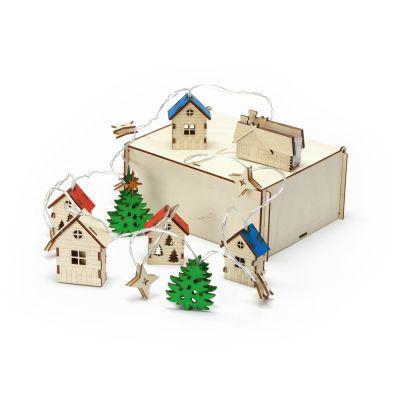 Елочная гирлянда с лампочками Новогодняя цветная + деревянная коробка с наполнителем-стружкой Ларь