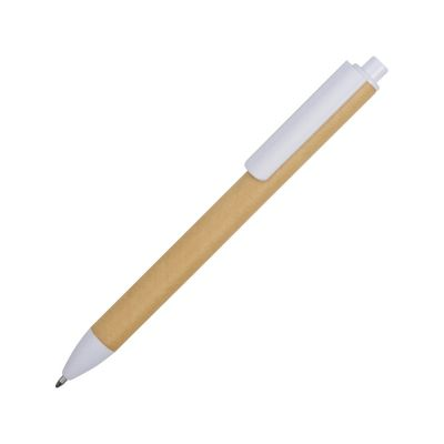 Ручка картонная пластиковая шариковая Эко 2.0, бежевый/белый