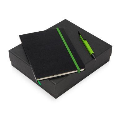 Подарочный набор Jacque с ручкой-подставкой и блокнотом А5, зеленое яблоко