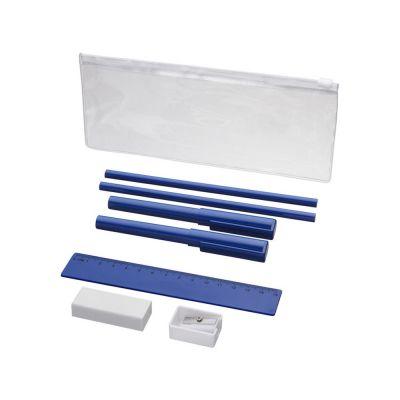Набор Mindy: ручки шариковые, карандаши, линейка, точилка, ластик, синий