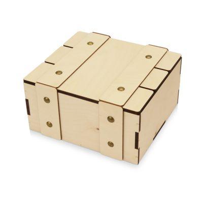 Деревянная подарочная коробка с крышкой Ларчик на бечевке