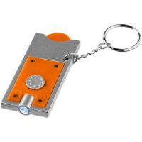 Брелок-держатель для монет Allegro с фонариком, оранжевый/серебристый