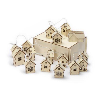Елочная гирлянда с лампочками Зимняя сказка деревянная + деревянная коробка с наполнителем-стружкой Ларь