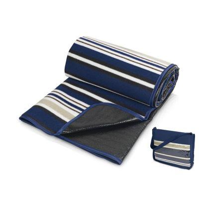 Плед в полоску в сумке Junket, синий