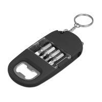 Брелок-открывалка с отвертками и фонариком Uni, софт-тач, черный