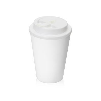 Пластиковый стакан Take away с двойными стенками и крышкой с силиконовым клапаном, 350 мл, белый