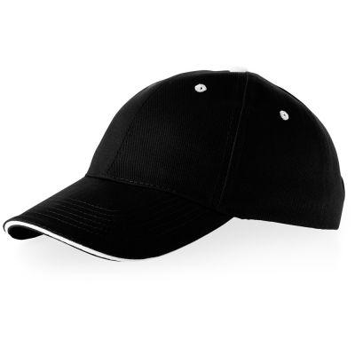 Бейсболка Brent, сэндвич, 6 панелей, черный/белый
