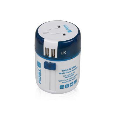 Адаптер с 2-умя USB-портами для зарядки Travel Blue Twist & Slide Adaptor голубой/белый