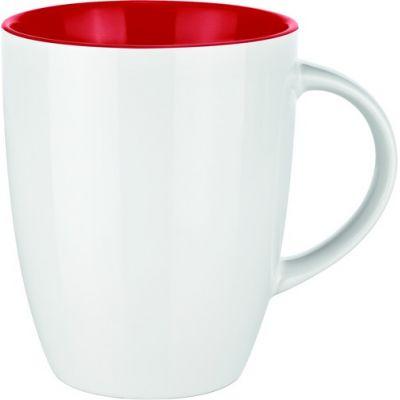 0353 Фарфоровая кружка Elite Inside белая/красная
