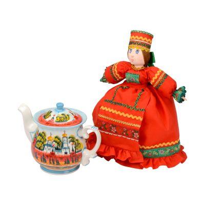 Набор Кремлевский: кукла на чайник, чайник заварной с росписью