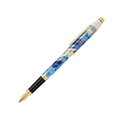 Перьевая ручка Cross Wanderlust Malta, перо тонкое F, белый, синий