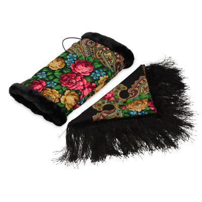 Подарочный набор: Павлопосадский платок, муфта, черный/разноцветный