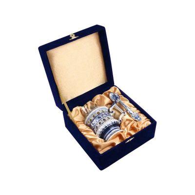 Набор: стакан с подстаканником и ложкой, белый/синий