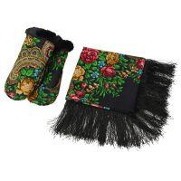 Набор: Павлопосадский платок, рукавицы, черный/разноцветный